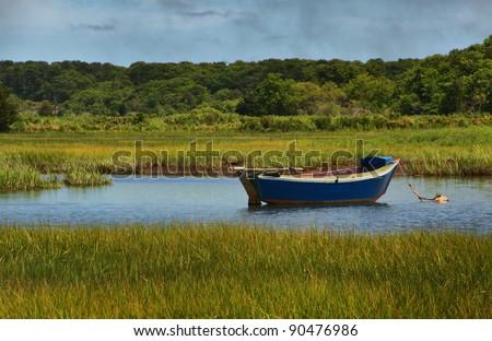 Sailboat in Marsh - stock photo