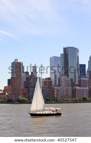 Sailboat in New York - stock photo