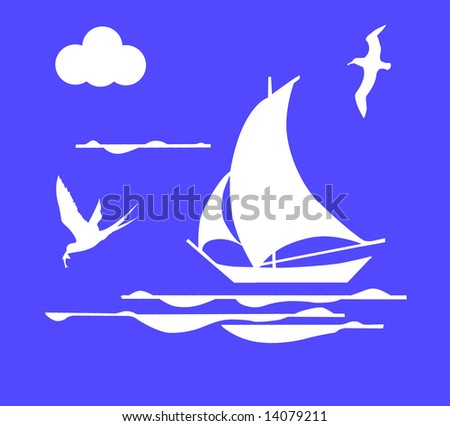 sailboat in ocean - stock photo