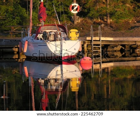 Sailboat in sweden - stock photo