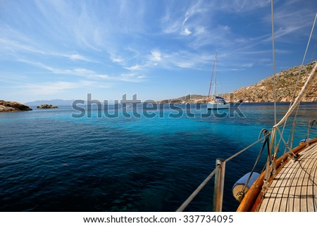 Sailboat in the bay of Cala Coticcio in Caprera island, Sardinia, Italy. View from a Sailboat
