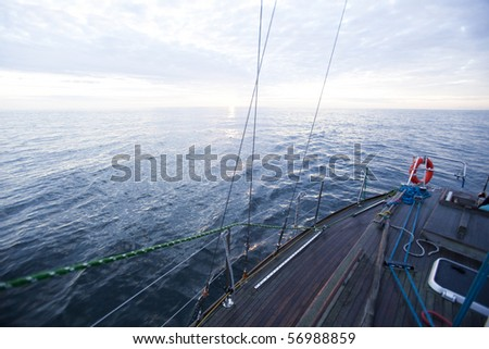 Sailboat in the open sea