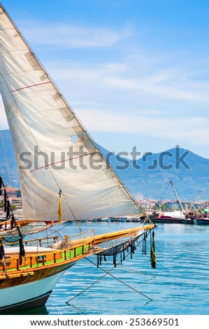 Sailboat in the port of Alanya, Turkey. Beautiful views of sea and mountains - stock photo