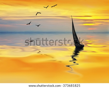 sailboat in the sea at sunset - stock photo