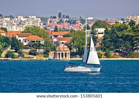 Sailboat in Zadar waterfront, Dalmatia, Croatia - stock photo