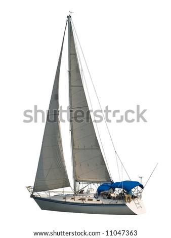 Sailboat isolated on white - stock photo