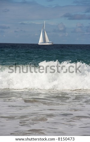 Sailboat. Lanzarote, Canary Islands, Spain - stock photo