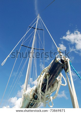 Sailboat mast and boom;  Jost Van Dyke, British Virgin Islands