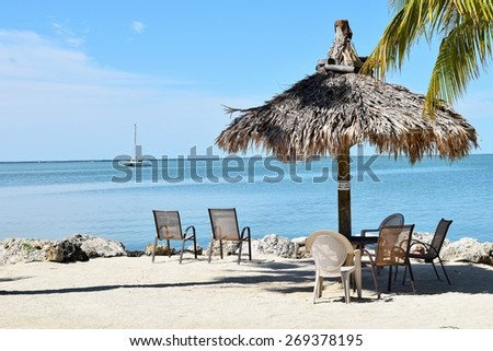 Sailboat off Florida Beach in Florida Keys - stock photo
