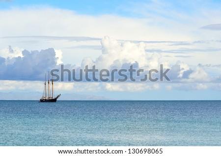 Sailboat off the coast of Sardinia. Italy - stock photo