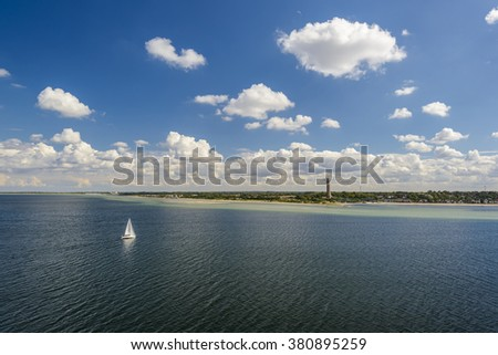Sailboat on Baltic Sea near Kiel Laboe, Germany, Europe - stock photo