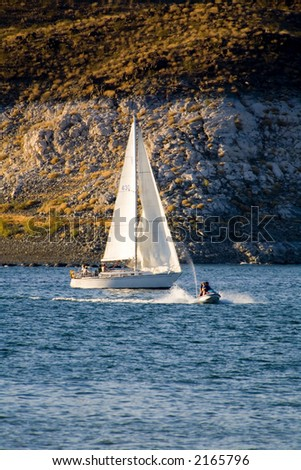Sailboat on Lake Meade reservoir - stock photo
