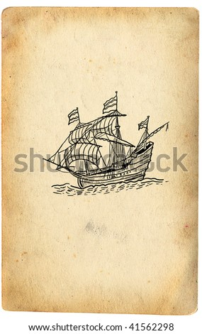 Sailboat on retro paper - stock photo