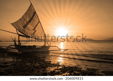 Sailboat on the lake, shot in the morning on summertime - stock photo
