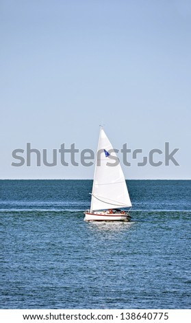 Sailboat on the Ontario lake ( Niagara-on-the-Lake, Canada) - stock photo