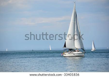 Sailboat on the Ontario lake (Ontario, Canada) - stock photo