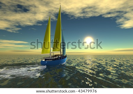 Sailboat sail on ocean on sunset