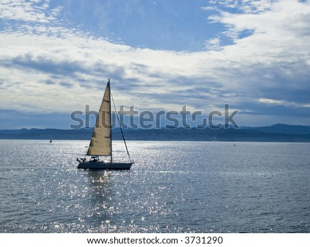 Sailboat sailing in the water reflecting sunlight