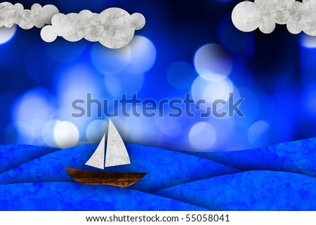Sailboat, sea illustration - stock photo