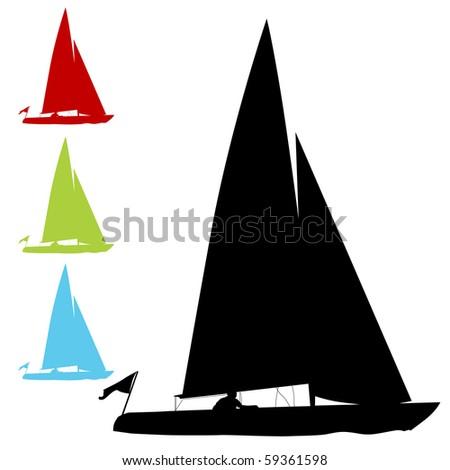Sailboat Set - stock photo