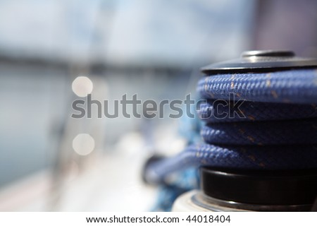 sailboater's equipment on yacht - stock photo