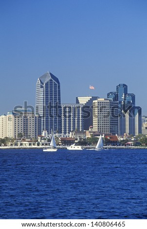 Sailboats and San Diego skyline as seen from Coronado, San Diego, California - stock photo