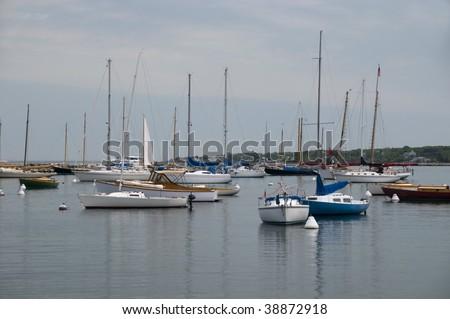 Sailboats are anchored in Vineyard Harbor, Martha's Vineyard, Massachusetts - stock photo
