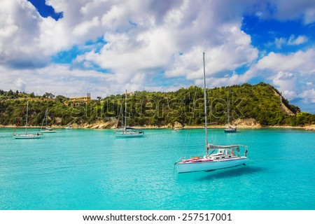 Sailboats at Lakka Bay, Paxos island, Greece