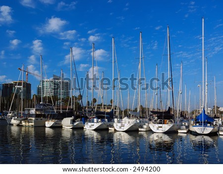 Sailboats Docked At Marina