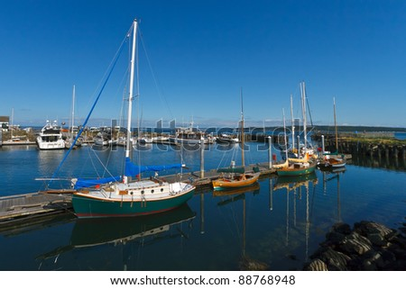 Sailboats docked in marina on a summer day with blue sky - stock photo