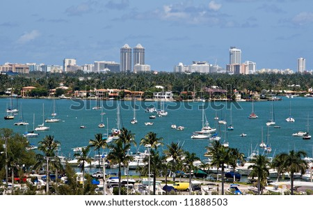 Sailboats in Biscayne Bay with Miami Beach Skyline - stock photo