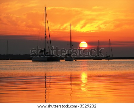 Sailboats in Harbor against a Brilliant Sunset