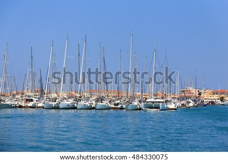 Sailboats in marina, Lefkada, Greece