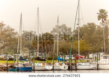 Sailboats In the Harbor Marina - stock photo
