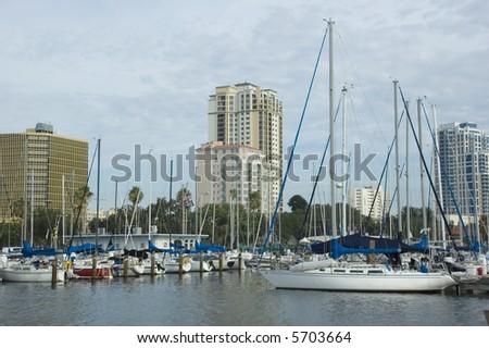 Sailboats in the St. Petersburg Muncipal Marina in Florida. - stock photo
