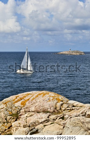 Sailboats in the summer archipelago - stock photo