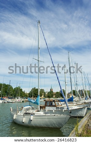 Sailboats  on a pier