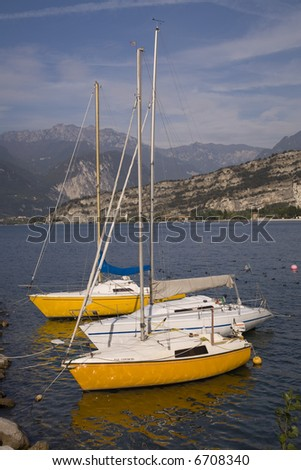 Sailboats on Lake Garda - stock photo