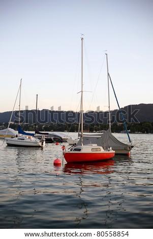 Sailboats on the lake - stock photo