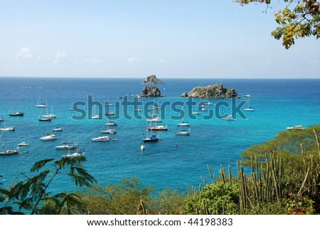 Sailboats outside Gustavia harbor St Barts - stock photo