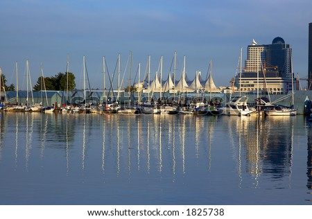 Sailboats parking in front of Canada Place. More with keyword group14g