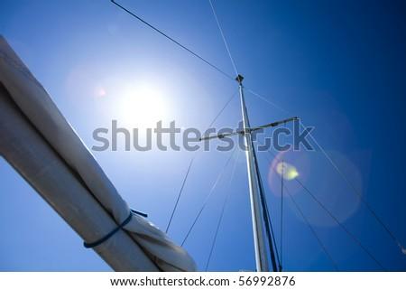 Sailing and sunset sky - stock photo