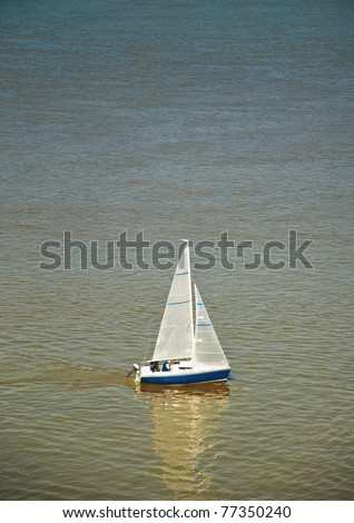 Sailing at the Danube river, spring time - stock photo