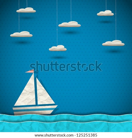 Sailing boat and clouds. Raster version - stock photo