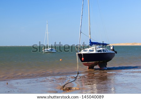 Sailing boat at Instow Devon England UK