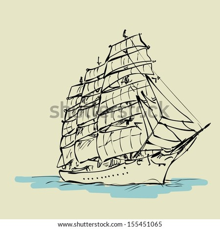 Sailing boat floats on full sails, Raster version. The original is also available in my gallery - stock photo