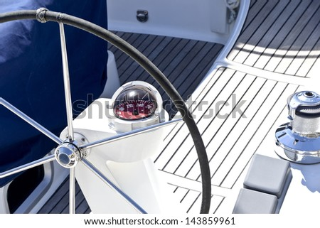 Sailing boat helm station - stock photo