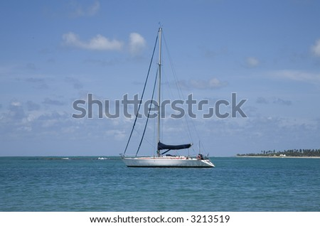 Sailing boat in Brazil - stock photo