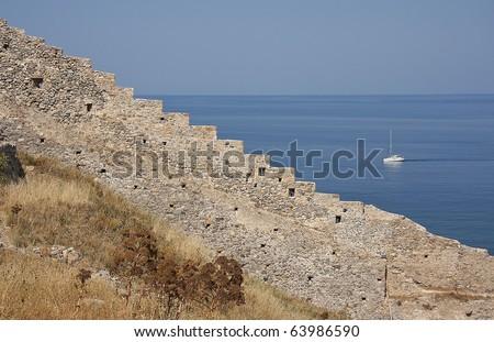 Sailing boat in Greece, Monemvasia, Peloponnesus - stock photo