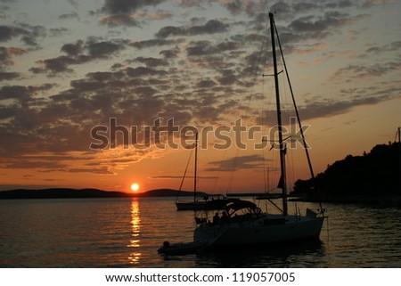 Sailing boat in the sea - stock photo